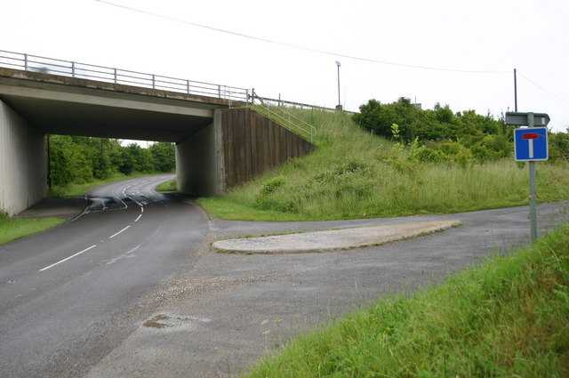 Minor road goes under A303 at Middlecot turning