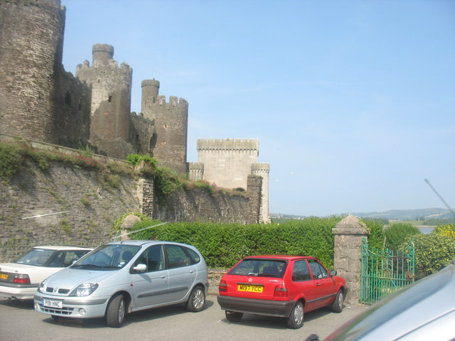 Conwy Castle and the portal of the railway bridge from the back