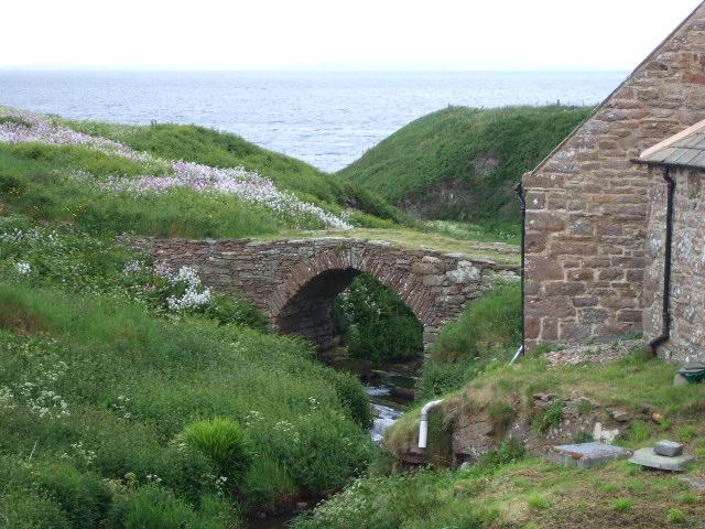 A pack-horse bridge over John o'Groats mill stream