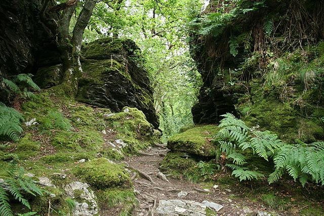 Whitchurch: path through rocks