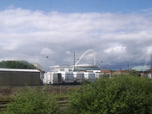 Van yard by the railway line
