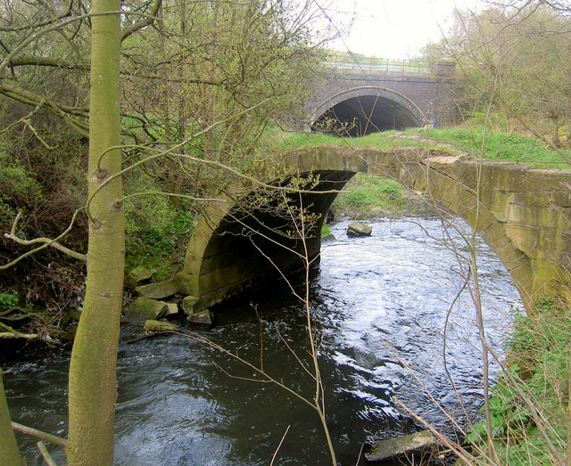 Pack horse bridge over river Dearne Storrs Mill Cudworth