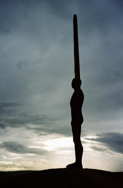 Angel of the North amid threatening sky