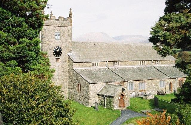 Hawkshead: parish church; hills beyond