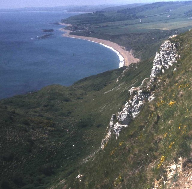Chalk cliffs above Ringstead Bay