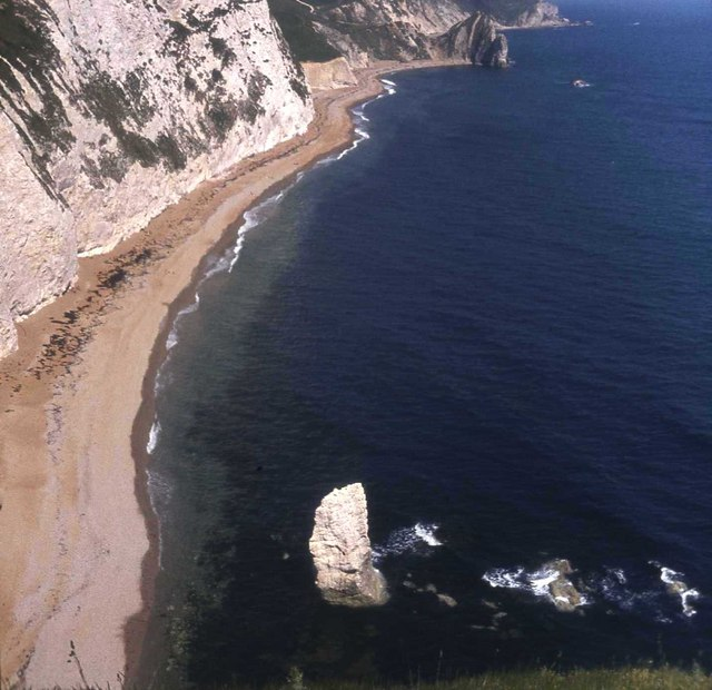 Durdle Door beach from Bat's Head