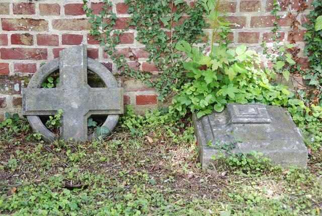 Broken headstones, Sturry churchyard, Kent