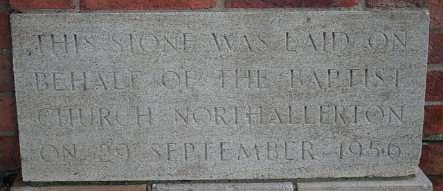 Foundation Stone, Baptist Church, Valley Road