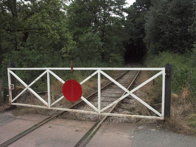 Level crossing on the Foxfield Railway