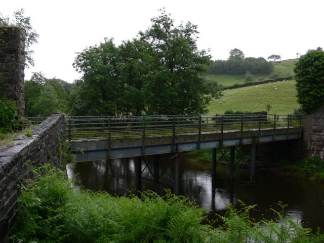 Old Railway Parapet & Road Bridge Over River Usk
