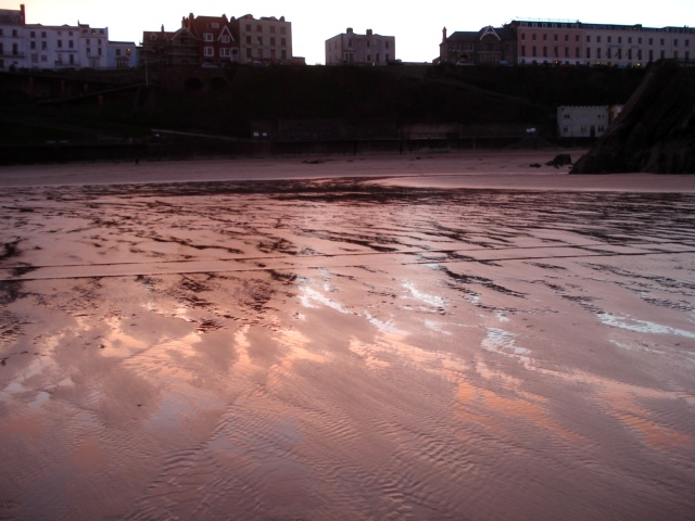 Evening sunlight reflects off North Beach