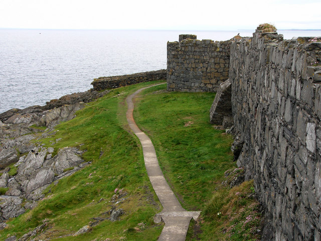 Path round the outer walls of Peel Castle, St Patrick's Isle