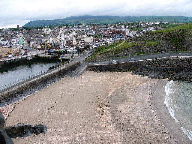 Fenella beach and Peel town from the castle walls