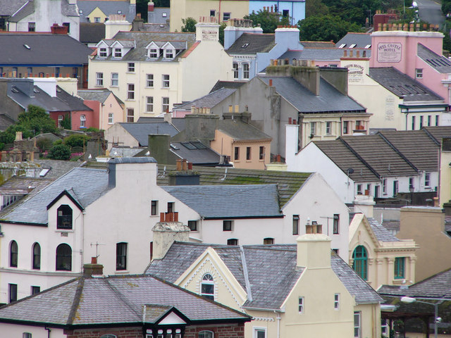 buildings of Peel viewed from the castle