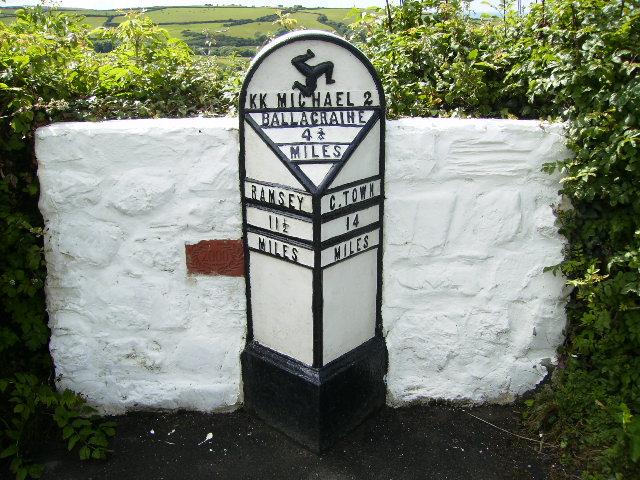 Milepost at Ballaskyr on the Isle of Man TT Course