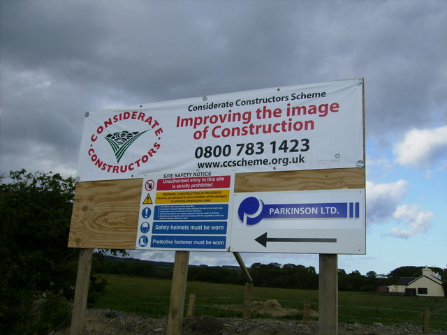 Sign adjacent to new road near Hillberry