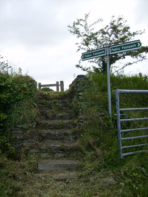 Footpath junction at Ballig Farm