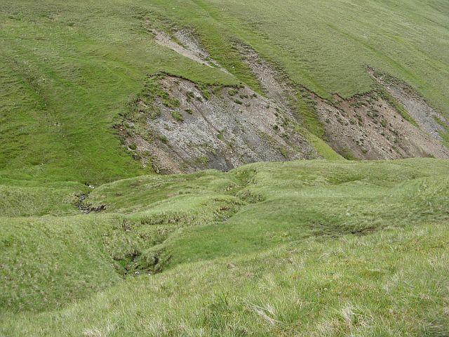 Erosion gullies below Glas Mheall Mòr