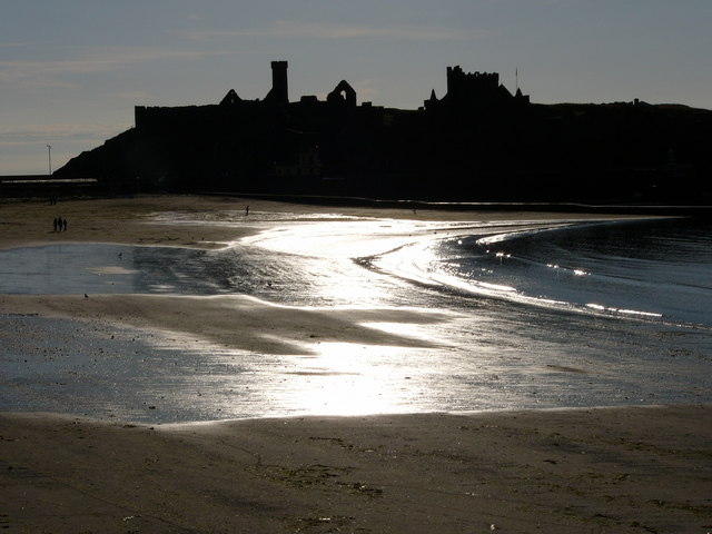 Peel beach and castle
