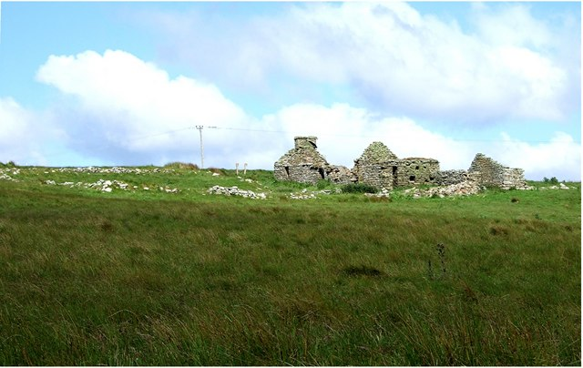 Ruined croft house and enclosure