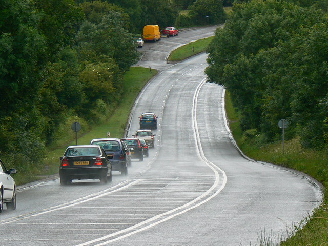 A foreshortened view of the A37 south towards Belluton