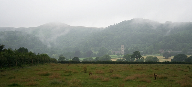 Herefordshire Beacon and Little Malvern Priory in the Rain