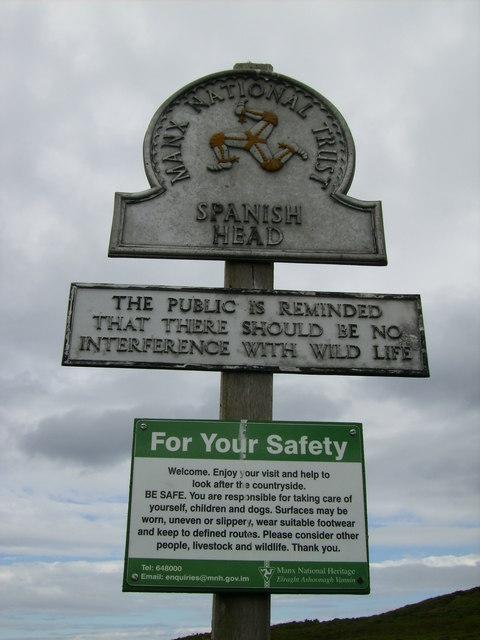 Manx National Heritage sign near Spanish Head