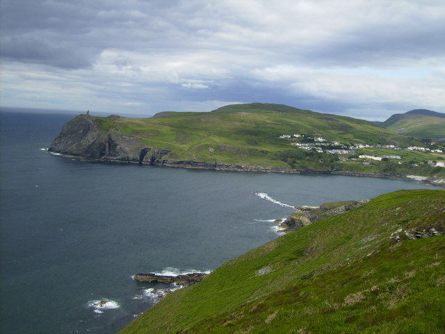The entrance to Port Erin Bay seen from the coastal path