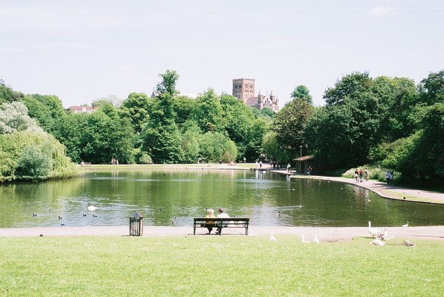 St. Albans: lake with cathedral view