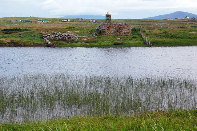 Ruin on shore of Loch na Bagh, South Uist