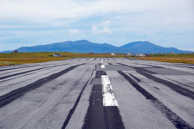 The short runway at Benbecula Airport