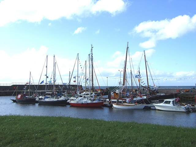 Boats bedecked in Helmsdale Harbour