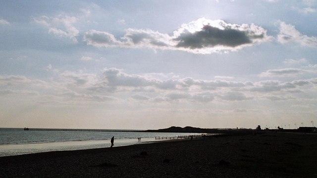 Littlehampton: west pier in silhouette