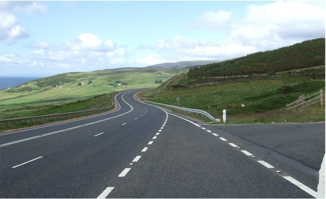 View down the A9 towards Navidale