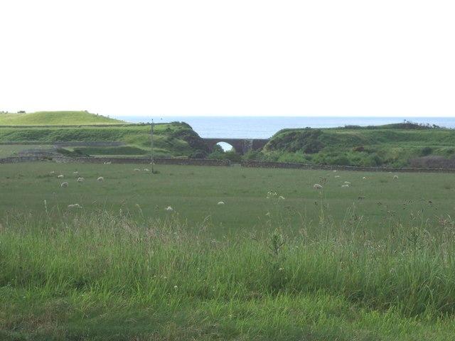 View towards the rail bridge over the Loth Burn.