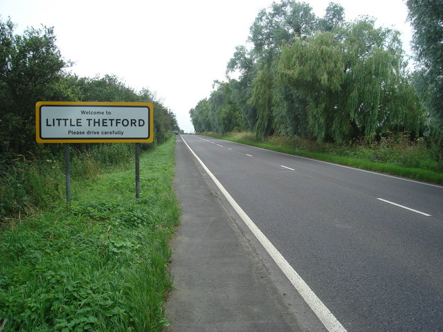 The A10 entering Little Thetford from the north