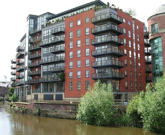 Riverside development on the Aire near Leeds Bridge