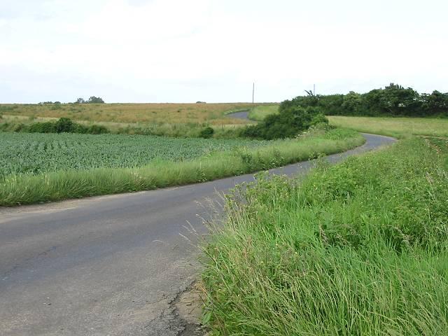 Winding road through farmland