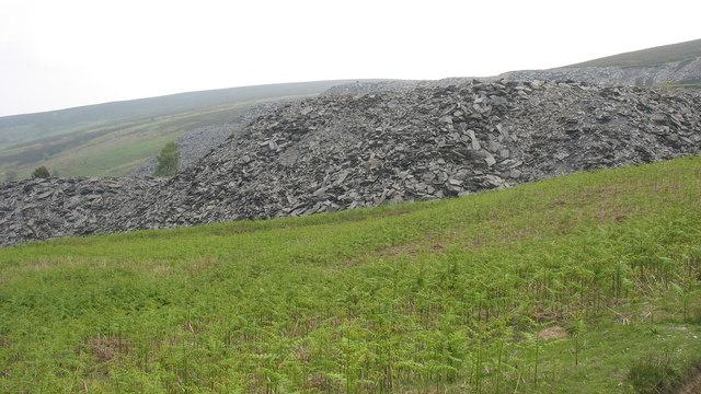 Waste tips at Moel Fferna Quarry