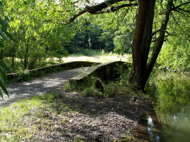 The bridge over the stream.
