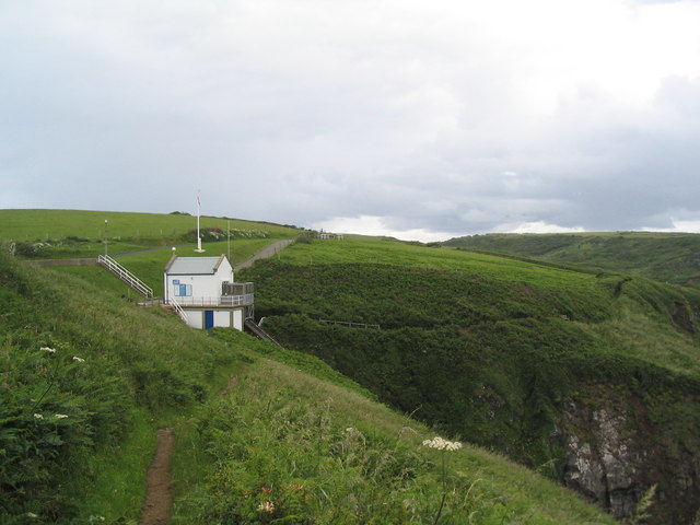 South West Coast Path passing the lifeboat station at Kilcobben Cove