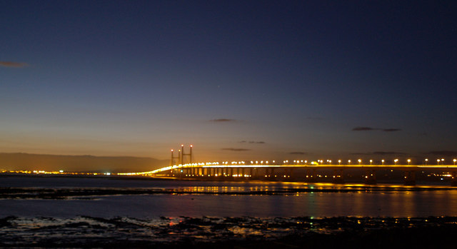 Second Severn crossing from Severn Beach at night