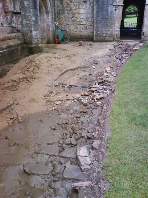 Damage to the Cloister path.