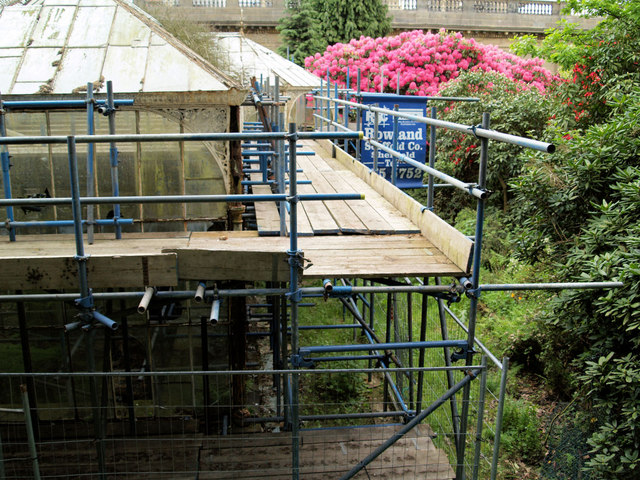 Wentworth Castle conservatory, supported by scaffolding to save collapse .