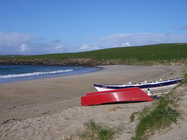 Boats on Levenwick Beach