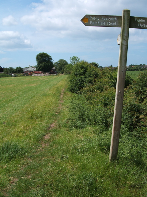The footpath junction looking towards Old Field Carr Farm