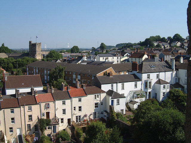 Chepstow - the backs of houses in Bridge Street