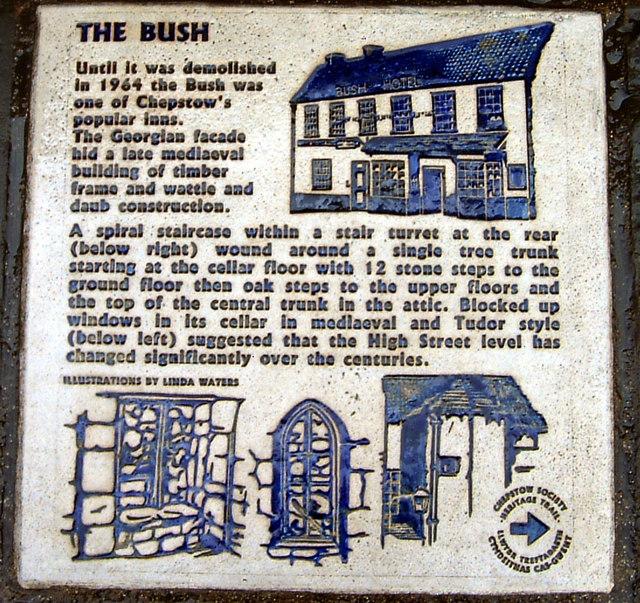 Chepstow - the Bush Inn plaque