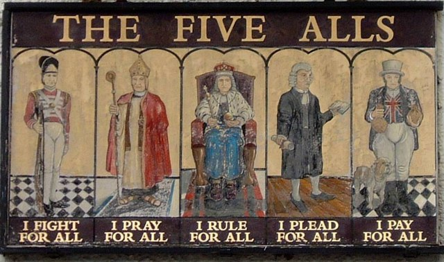 Chepstow - The Five Alls inn sign