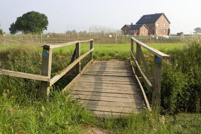 Foot bridge over drainage dyke.